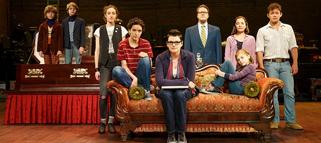 The Fun Home cast, including Abby Corrigan (fourth from left). (Photo by Joan Marcus)