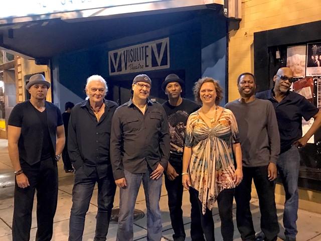 The current Monday Night Allstars (from left): Rodney Shelton, Jim Brock, Ziad Rabie, Shana Blake, Chris Allen, Rick Blackwell, Joe Lindsay. (Photo by Alison Voelzow)