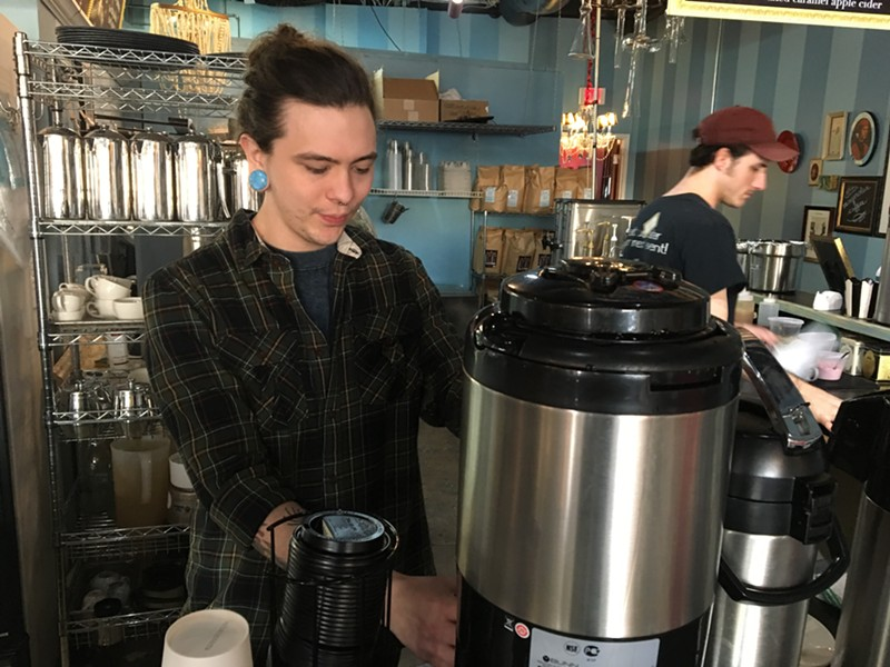 Garrett Ballard pulls coffee at Amelie's