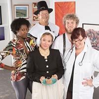 (Center) Tonya Bludsworth and (left to right) Tania Kelly, Matt Corbett, Field Cantey and Donna Scott in The Book Of Liz at Charlotte Art League. (Photo credit: Weldon Weaver)