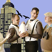 L-R: Karen Christensen, Stephen Seay, Kristian Wedolowski and Robbie Jaeger star in Queen City Theatre Company's Birds of a Feather. (Photo by George Hendricks)