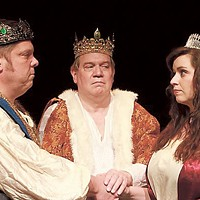 Charles Holmes, Russell Rowe, and Katie Bearden in The Winter's Tale. (Photo by David Hensley)