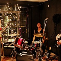 (From left) Susan Plante, Kristen Leake and Sarah Blumenthal at a recent show at The Station in Plaza Midwood. (Photo by Becca Bellamy)