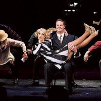 Meredith Zahn as Roxie Hart and Justin Miller as Billy Flynn in CPCC's Chicago. (Photo by Chris Record)