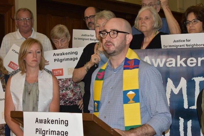 Rev. Ben Boswell speaks at the recent vigil at Myers Park Baptist Church. (Photos by Mackenzie Harris)