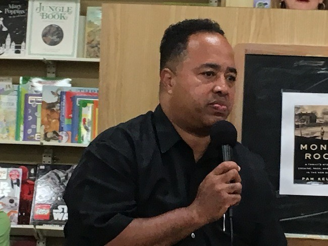 Platt speaks at a recent event at Park Road Books. (Photo by Neel Stallings)