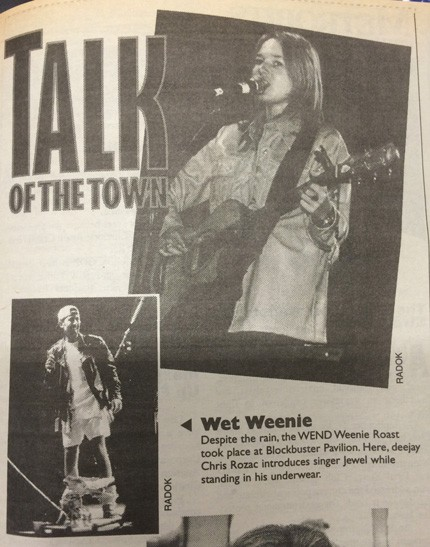 Creative Loafing ran a photo in 1995 of Rozak on stage with Jewel. - KODAR