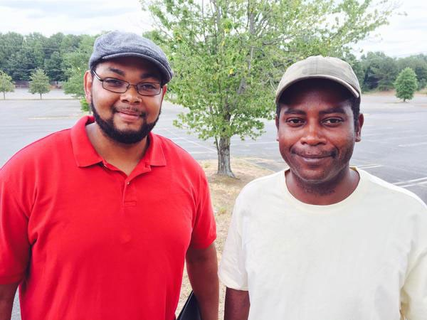 Errick Curtis-Pulley (left) and Theodore Williams lobbied the city to allow them to open the Eastland Open Air Market. (Photo by John Autry)