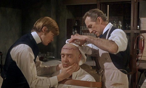 Simon Ward, Freddie Jones and Peter Cushing in Frankenstein Must Be Destroyed (Photo: Warner & Hammer)