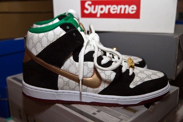 """The Black Sheep Nike SB Dunk High """"Paid in Full"""" was pulled before it hit shelves due to a pending lawsuit from Gucci. Alex Brown was able to get a pair from a connection who can't be named here for legal reasons. (Photos by Jeff Hahne)"""
