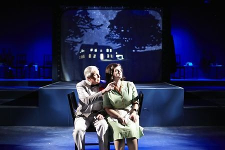 Jerry Colbert as Narrator and Lisa Smith Bradley as Miriam in Fly by Night. (Photo by George Hendricks Photography)