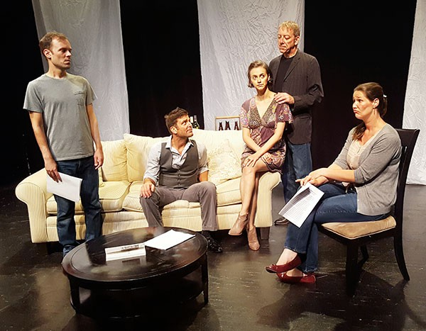 (L to R) Scott Miller, Paul Gibson, Karina Caporino, Michael Harris and Becca Worthington in Three Bone Theatre's Seminar.