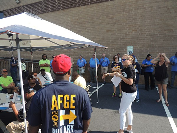 Dominique Salice, deputy field director in the southern region for the national AFL-CIO, discusses canvassing strategy with volunteers at the Labor 2016 mobilization kick-off.
