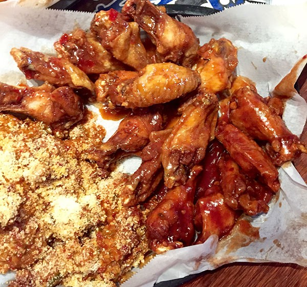Hot garlic parmesan wings from Wing King Cafe. (Photo by Chrissie Nelson)