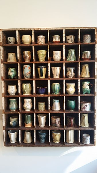 Handcrafted mugs by a variety of local and regional potters at Lark & Key