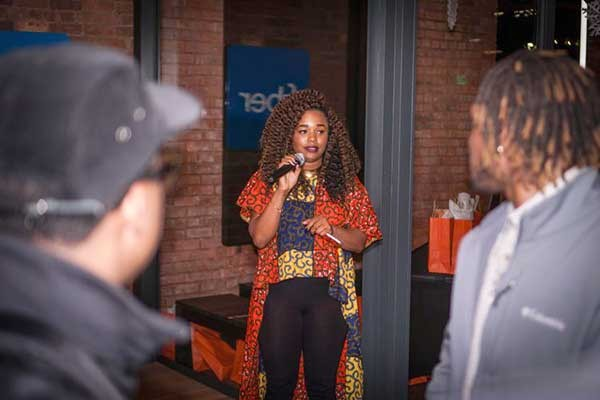 Dorsey speaks at the first #BLKTECHCLT event in December.