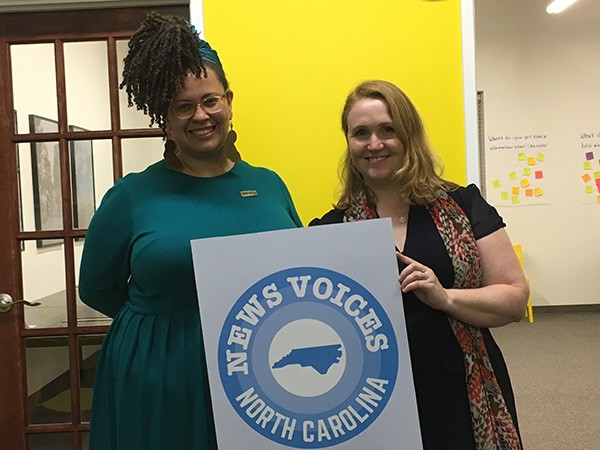 Alicia Bell (left) and Fiona Morgan at a recent News Voice launch party in Charlotte. Photo by Mary Alice Crim.