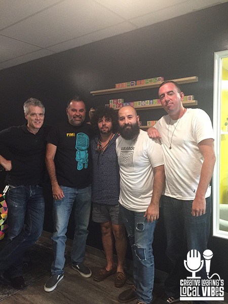 Tony Arreaza (second from left) and Davey Blackburn (center) at the recording of this week's Local Vibes podcast.