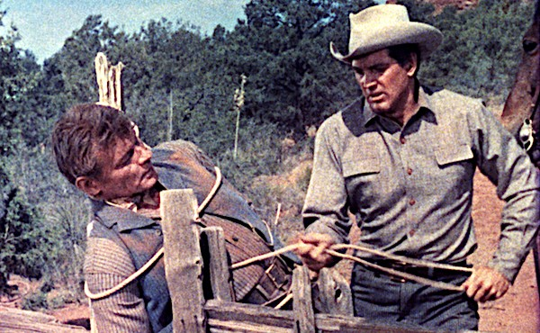 Leo Gordon and Rock Hudson in Gun Fury (Photo: Twilight Time)