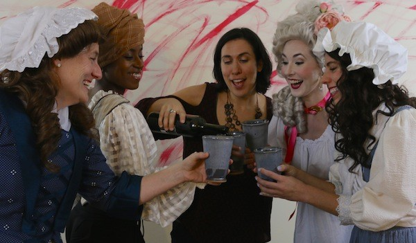 Pour the wine [from left]: Shawnna Pledger, Lydia Williamson, Nicia Carla, Caroline Bower and Sarah Woldum. (Photo by Seth Woodall)