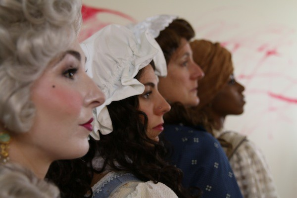 Profiles in Courage: Carolina Bower as Marie Antoinette, Sarah Woldum as Charlotte Corday, Shawnna Pledger as Olympe De Gouges and Lydia Williamson as Marianne Angelle. (Photo by Seth Woodall)