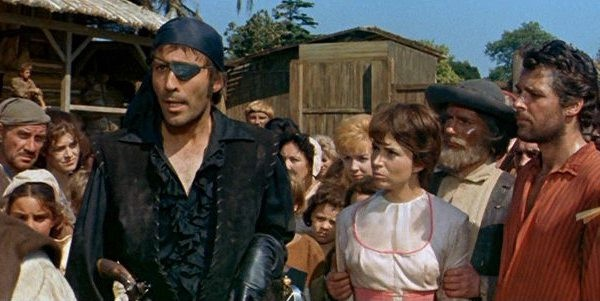 Christopher Lee and Kerwin Mathews (far right) in The Pirates of Blood River (Photo: Twilight Time)
