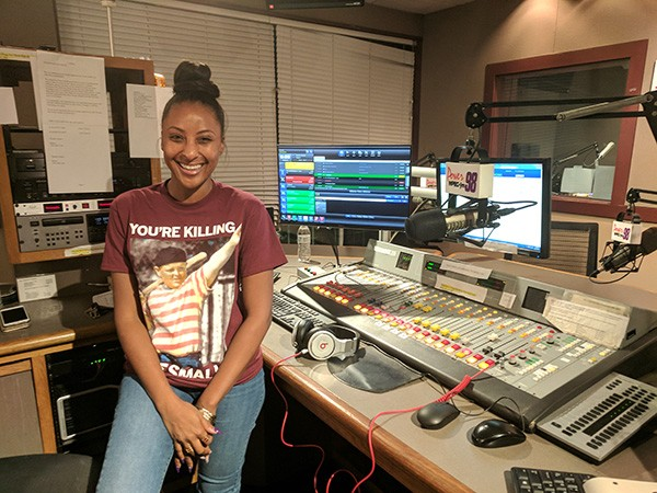 Ya Girl Nikki in the studio at Power 98, where she'll be collecting books in the coming months. (Photo by Ryan Pitkin)