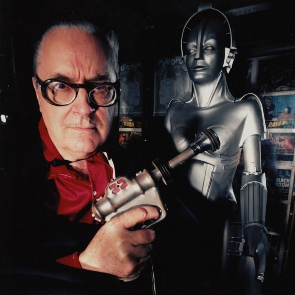 MAN AND MACHINE: Forrest J Ackerman with a replica (background) from his favorite movie, the silent classic Metropolis.