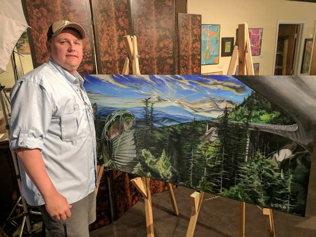 Brian Hester after finishing up at a recent live painting event at Coffey & Thompson.