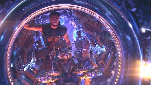 Thor (Chris Hemsworth), Rocket (Bradley Cooper) and Groot (Vin Diesel) in Avengers: Infinity War (Photo: Disney & Marvel)