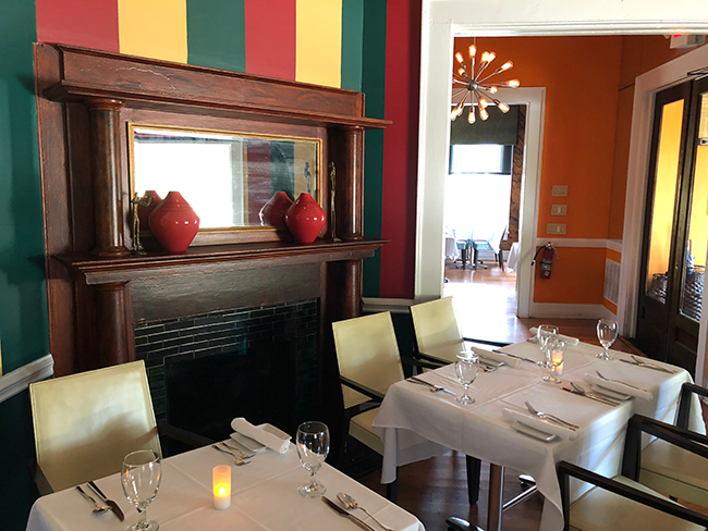 The dining room, like the food, is a mix of modern and traditional.