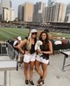 (L-R) Mia Chamberlain & Kaitlin Phelps enjoy Bark at the Ballpark with Beau