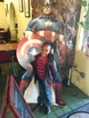 Amiah-Lynn loves to be greeted by Captain America when she comes to Bean Vegan