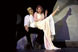 Jacob Estes as The Monster and Kylee Verhoff as Elizabeth in Young Frankenstein. (Photo credit: Chris Record)