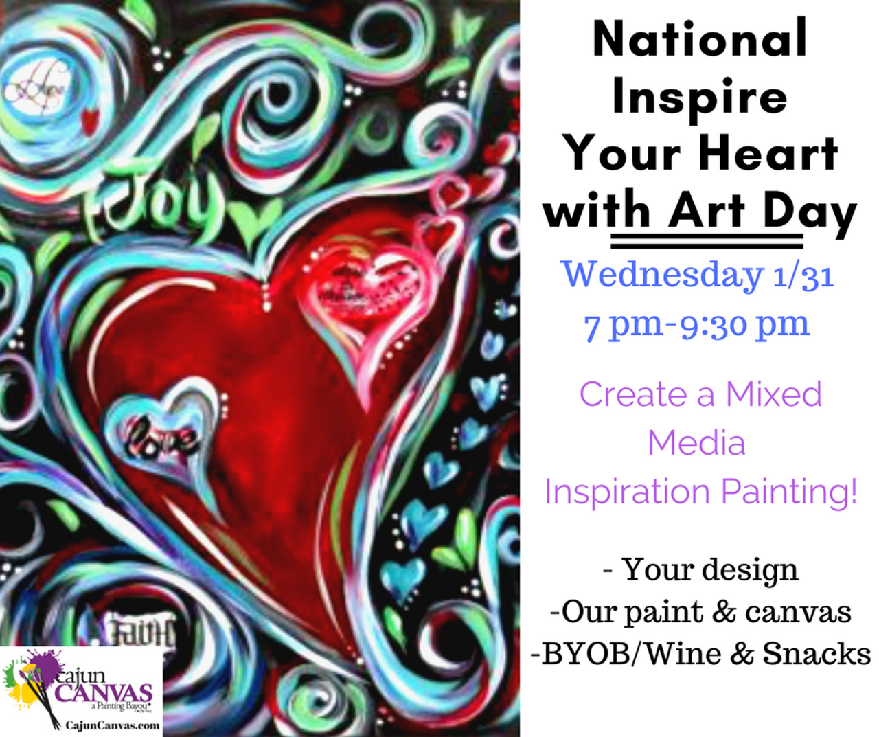 National inspire your heart with art day cajun canvas for Sip and paint charlotte nc