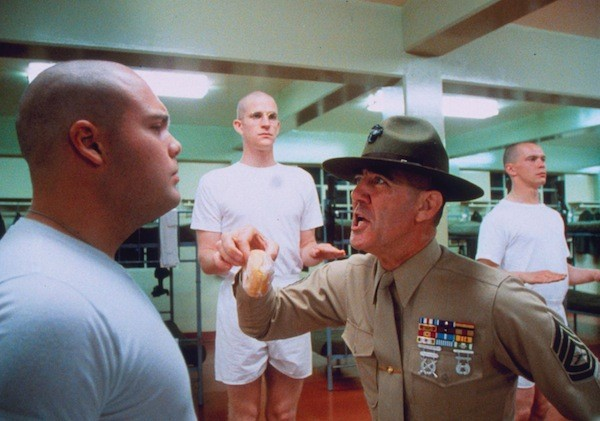 Vincent D'Onofrio (left), Matthew Modine (center back) and R. Lee Ermey in Full Metal Jacket (Photo: Warner Bros.)