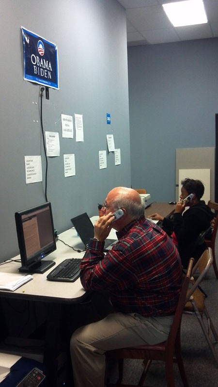 Volunteers man phonebanks at the Obama regional headquarters, in Pineville.