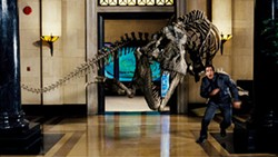 RHYTHM & HUES / FOX - WALK THE DINOSAUR Larry Daley (Ben Stiller) gets too close for comfort with a T-Rex.