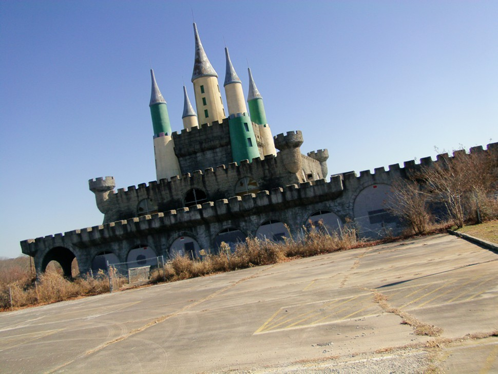 Weeds, broken windows and a big wire fence: the Kings Castle is now a childs nightmare.