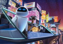 DISNEY/PIXAR - WE'RE NOT IN TATOOINE ANYMORE: EVE and WALL-E take in the city lights.