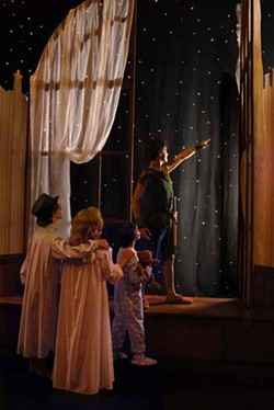 DONNA BISE - WHERE'S TINKERBELL?: (Left to right) Issac Josephthal, Amanda Roberge, Sam Faulkner and Nic Bryan star in Children's Theatre of Charlotte's Peter Pan.