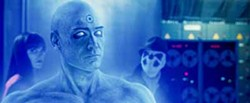 WARNER BROS. - WHY SO BLUE?: Dr. Manhattan (Billy Crudup) ponders the mysteries of life while Silk Spectre (Malin Akerman) and Rorschach (Jackie Earle Haley) ponder the mysteries of Dr. Manhattan in Watchmen.