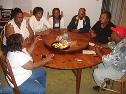 Willie Brown's family gathered at Nazareth House; from left to right are his sister Teresa Shepard, his niece Regina Diane Glover, his sister Katie Glover, his great-niece Nikki Kendrick, his nephew Angelo Brown, Angelo's wife, Patricia, and Willie's brother Tony Brown - JESSE DECONTO