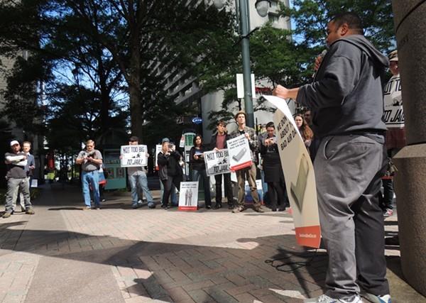 Winston-Salem activist Tony Ndedge addresses the crowd.