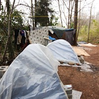 Without more permanent supportive housing options, many homeless people will choose to live in an encampment, such as this one behind Hope Chapel on Wadsworth Place.