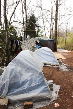 MEREDITH JONES - Without more permanent supportive housing options, many homeless people will choose to live in an encampment, such as this one behind Hope Chapel on Wadsworth Place.