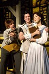 <p>YOU'RE THE BEAST, GASTON!: Jon Parker Douglas (far left), Matthew Keffer and Caroline Bower star in Children's Theatre of Charlotte's production of <b><i>Disney's Beauty and the Beast</i></b>.</p>