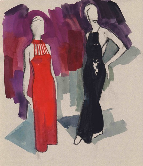 1978 Saks Fifth Avenue evening dress by Adolfo Cuban and 1978 jumpsuit by André Courrèges