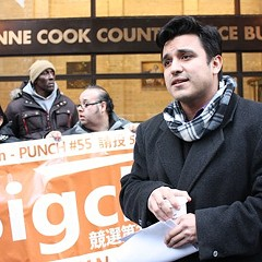 25th Ward candidate Byron Sigcho stands outside the Chicago Board of Elections Tuesday after filing a lawsuit requesting a recount within the ward.