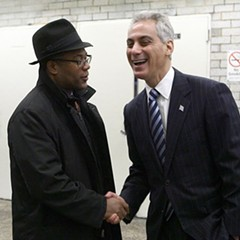 27th Ward Alderman Walter Burnett Jr. and Mayor Rahm Emanuel at an el station in Logan Square in December. Burnett says the city is examining other sites for Obama College Prep.